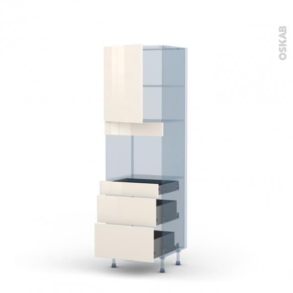 KERIA Ivoire - Kit Rénovation 18 - Colonne Four niche 45 N°2158  - 1 porte 3 tiroirs - L60xH195xP60