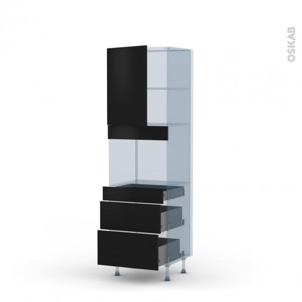 GINKO Noir - Kit Rénovation 18 - Colonne Four niche 45 N°2158  - 1 porte 3 tiroirs - L60xH195xP60