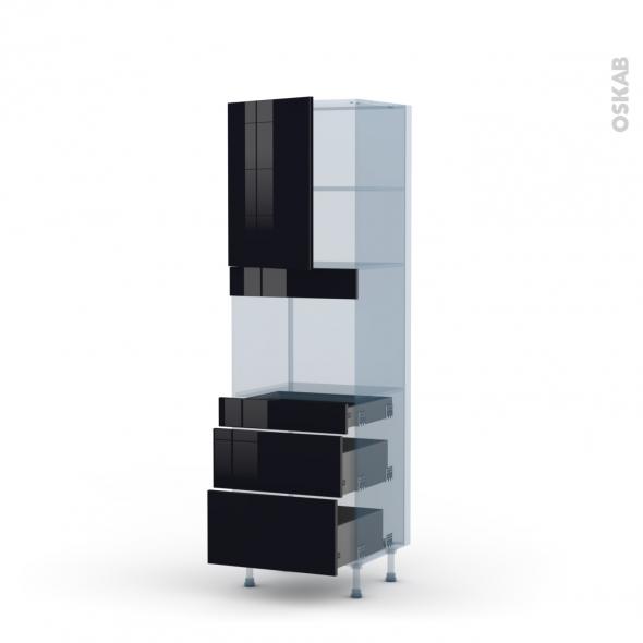 KERIA Noir - Kit Rénovation 18 - Colonne Four niche 45 N°2158  - 1 porte 3 tiroirs - L60xH195xP60