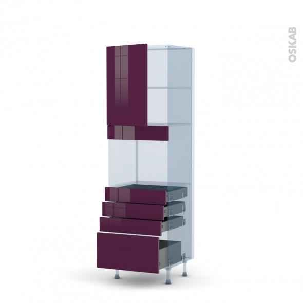 KERIA Aubergine - Kit Rénovation 18 - Colonne Four niche 45 N°2159  - 1 porte 4 tiroirs - L60xH195xP60