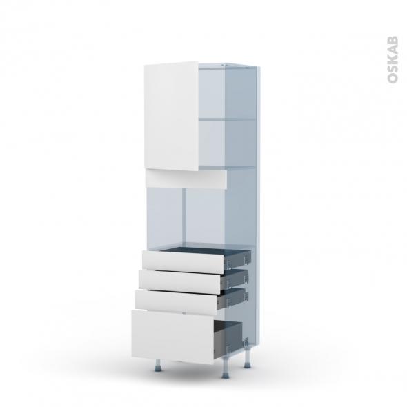 GINKO Blanc - Kit Rénovation 18 - Colonne Four niche 45 N°2159 - 1 porte 4 tiroirs - L60xH195xP60
