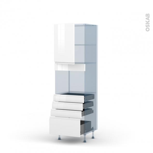 IPOMA Blanc - Kit Rénovation 18 - Colonne Four niche 45 N°2159  - 1 porte 4 tiroirs - L60xH195xP60