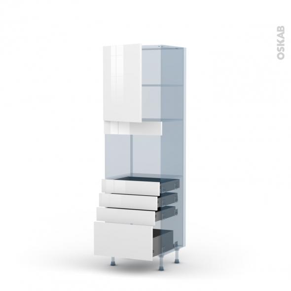 STECIA Blanc - Kit Rénovation 18 - Colonne Four niche 45 N°2159  - 1 porte 4 tiroirs - L60xH195xP60