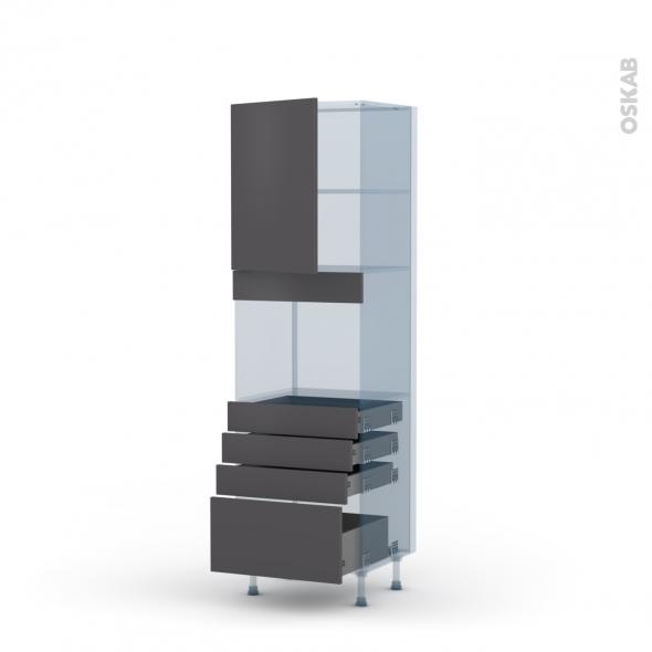 GINKO Gris - Kit Rénovation 18 - Colonne Four niche 45 N°2159  - 1 porte 4 tiroirs - L60xH195xP60