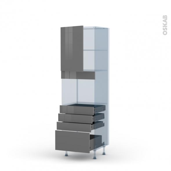 STECIA Gris - Kit Rénovation 18 - Colonne Four niche 45 N°2159  - 1 porte 4 tiroirs - L60xH195xP60