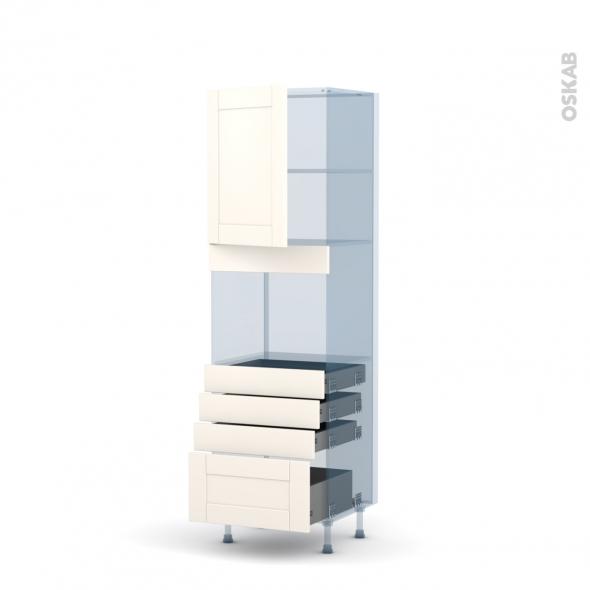FILIPEN Ivoire - Kit Rénovation 18 - Colonne Four niche 45 N°2159  - 1 porte 4 tiroirs - L60xH195xP60