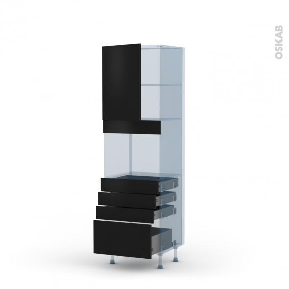 GINKO Noir - Kit Rénovation 18 - Colonne Four niche 45 N°2159  - 1 porte 4 tiroirs - L60xH195xP60