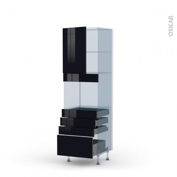 KERIA Noir - Kit Rénovation 18 - Colonne Four niche 45 N°2159  - 1 porte 4 tiroirs - L60xH195xP60