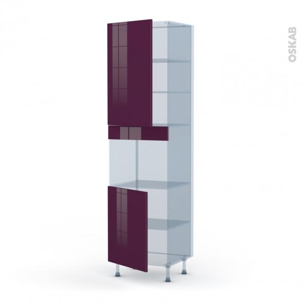 KERIA Aubergine - Kit Rénovation 18 - Colonne Four niche 45 N°2421  - 2 portes - L60xH217xP60