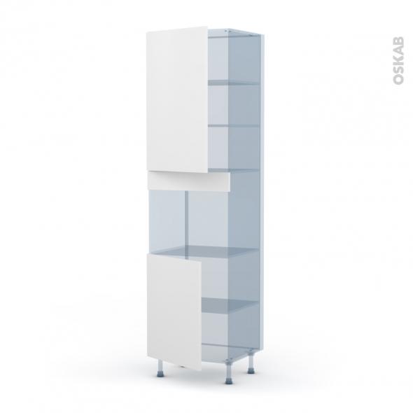 GINKO Blanc - Kit Rénovation 18 - Colonne Four niche 45 N°2421 - 2 portes - L60xH217xP60