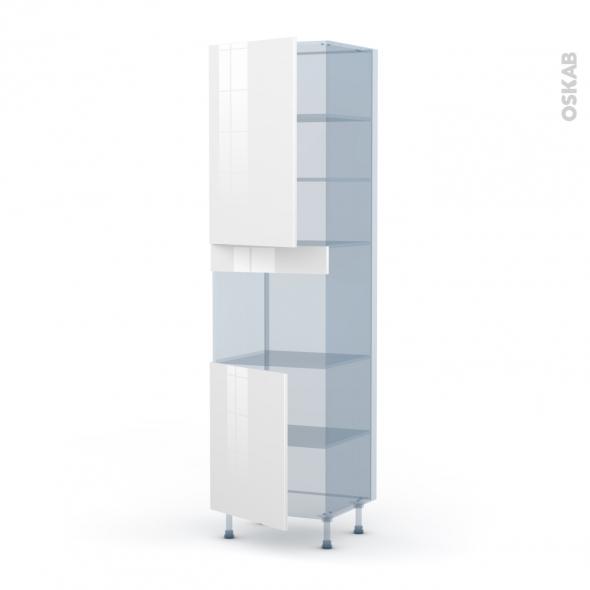 STECIA Blanc - Kit Rénovation 18 - Colonne Four niche 45 N°2421  - 2 portes - L60xH217xP60