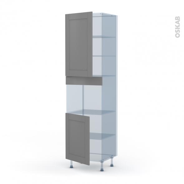 FILIPEN Gris - Kit Rénovation 18 - Colonne Four niche 45 N°2421  - 2 portes - L60xH217xP60