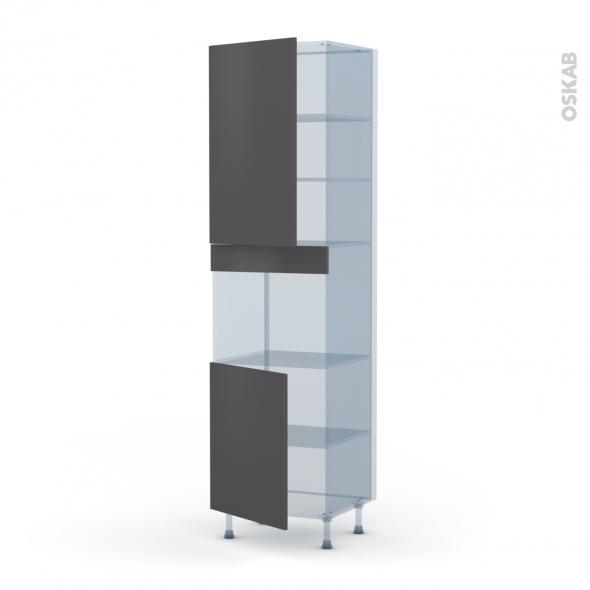 GINKO Gris - Kit Rénovation 18 - Colonne Four niche 45 N°2421  - 2 portes - L60xH217xP60