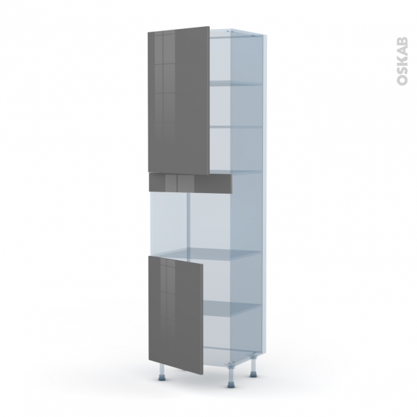 STECIA Gris - Kit Rénovation 18 - Colonne Four niche 45 N°2421  - 2 portes - L60xH217xP60