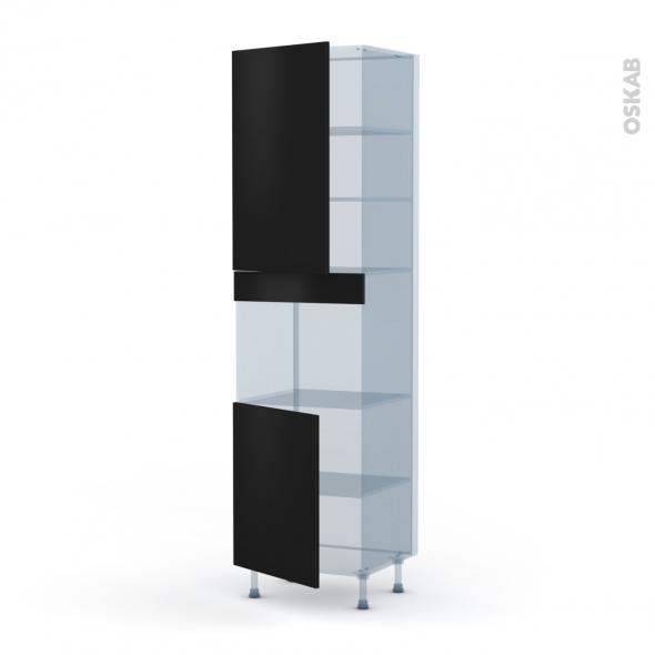 GINKO Noir - Kit Rénovation 18 - Colonne Four niche 45 N°2421  - 2 portes - L60xH217xP60