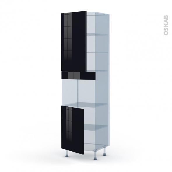 KERIA Noir - Kit Rénovation 18 - Colonne Four niche 45 N°2421  - 2 portes - L60xH217xP60