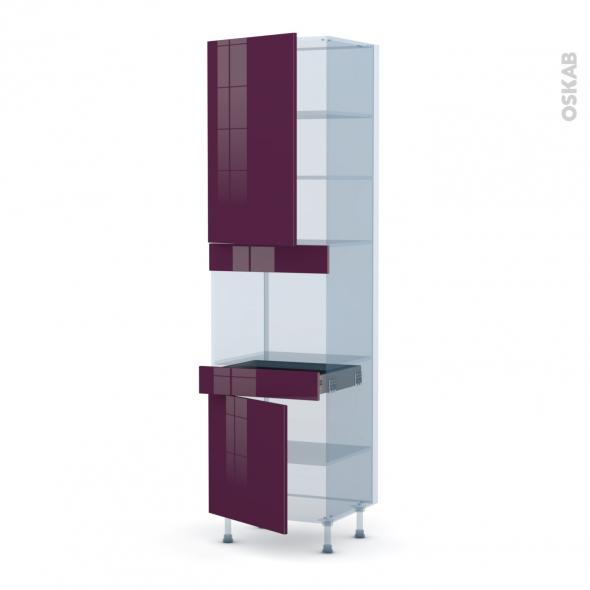 KERIA Aubergine - Kit Rénovation 18 - Colonne Four niche 45 N°2456  - 2 portes 1 tiroir - L60xH217xP60