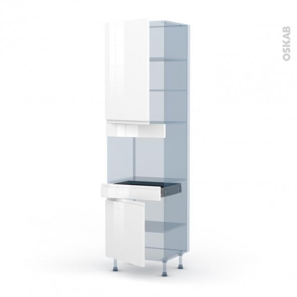 IPOMA Blanc brillant - Kit Rénovation 18 - Colonne Four niche 45 N°2456  - 2 portes 1 tiroir - L60xH217xP60