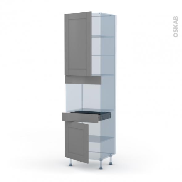 FILIPEN Gris - Kit Rénovation 18 - Colonne Four niche 45 N°2456  - 2 portes 1 tiroir - L60xH217xP60