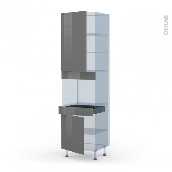 STECIA Gris - Kit Rénovation 18 - Colonne Four niche 45 N°2456  - 2 portes 1 tiroir - L60xH217xP60