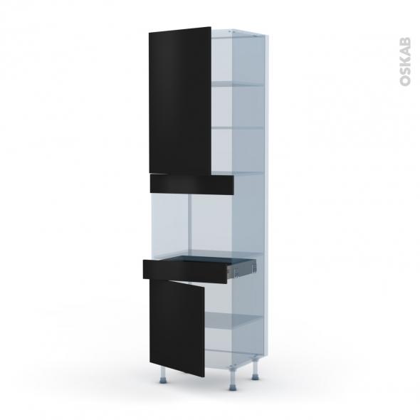 GINKO Noir - Kit Rénovation 18 - Colonne Four niche 45 N°2456  - 2 portes 1 tiroir - L60xH217xP60