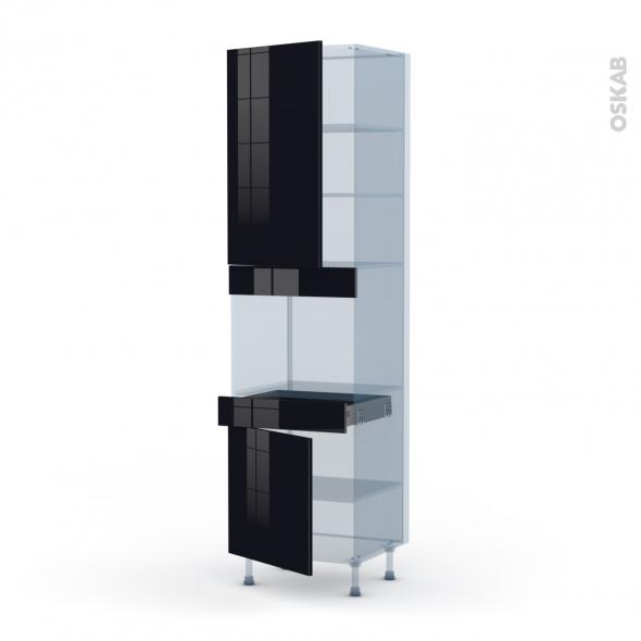 KERIA Noir - Kit Rénovation 18 - Colonne Four niche 45 N°2456  - 2 portes 1 tiroir - L60xH217xP60