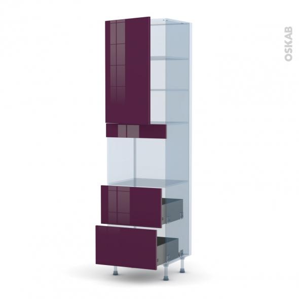 KERIA Aubergine - Kit Rénovation 18 - Colonne Four niche 45 N°2457  - 1 porte 2 casseroliers - L60xH217xP60