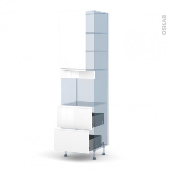 IPOMA Blanc - Kit Rénovation 18 - Colonne Four niche 45 N°2457  - 1 porte 2 casseroliers - L60xH217xP60