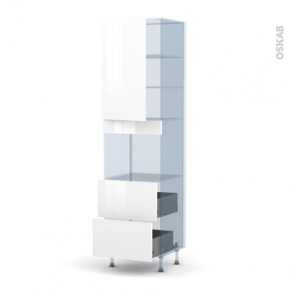 STECIA Blanc - Kit Rénovation 18 - Colonne Four niche 45 N°2457  - 1 porte 2 casseroliers - L60xH217xP60