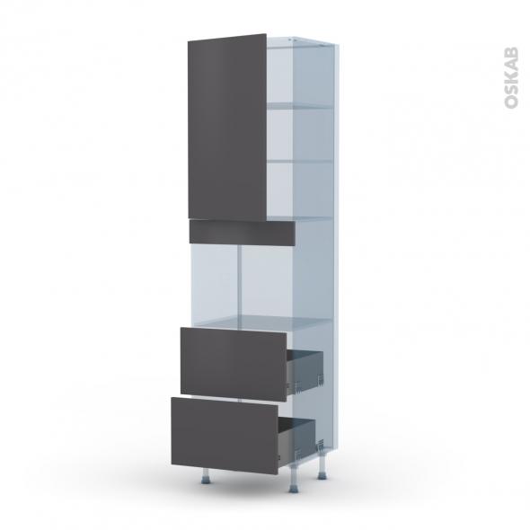 GINKO Gris - Kit Rénovation 18 - Colonne Four niche 45 N°2457  - 1 porte 2 casseroliers - L60xH217xP60
