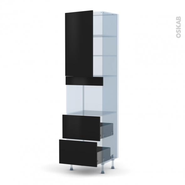 GINKO Noir - Kit Rénovation 18 - Colonne Four niche 45 N°2457  - 1 porte 2 casseroliers - L60xH217xP60