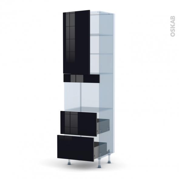 KERIA Noir - Kit Rénovation 18 - Colonne Four niche 45 N°2457  - 1 porte 2 casseroliers - L60xH217xP60