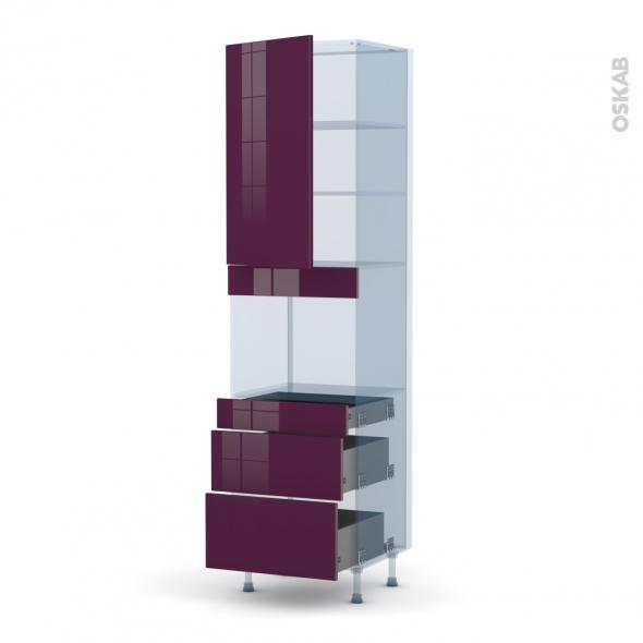 KERIA Aubergine - Kit Rénovation 18 - Colonne Four niche 45 N°2458  - 1 porte 3 tiroirs - L60xH217xP60