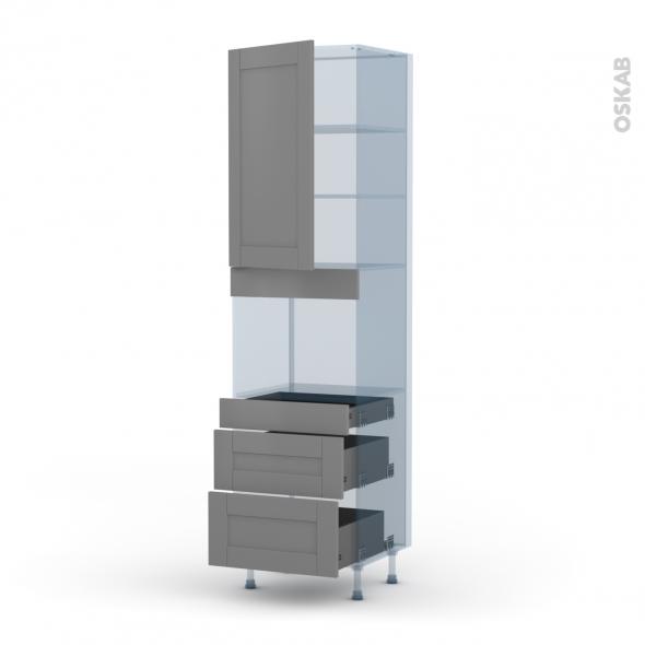 FILIPEN Gris - Kit Rénovation 18 - Colonne Four niche 45 N°2458  - 1 porte 3 tiroirs - L60xH217xP60