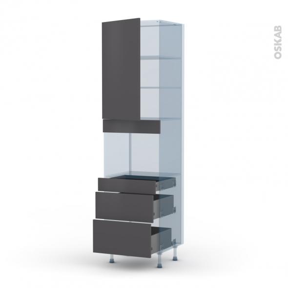 GINKO Gris - Kit Rénovation 18 - Colonne Four niche 45 N°2458  - 1 porte 3 tiroirs - L60xH217xP60