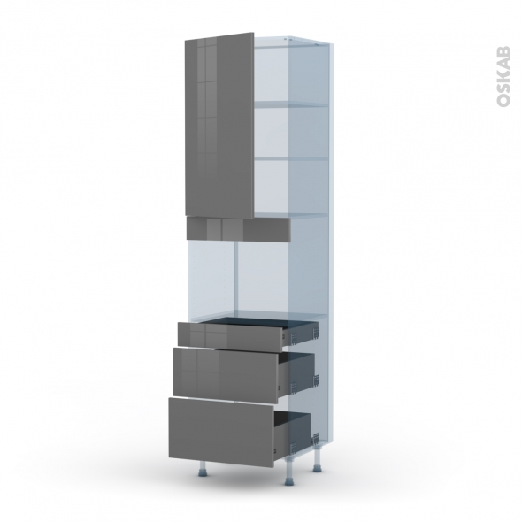 STECIA Gris - Kit Rénovation 18 - Colonne Four niche 45 N°2458  - 1 porte 3 tiroirs - L60xH217xP60