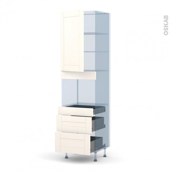 FILIPEN Ivoire - Kit Rénovation 18 - Colonne Four niche 45 N°2458  - 1 porte 3 tiroirs - L60xH217xP60