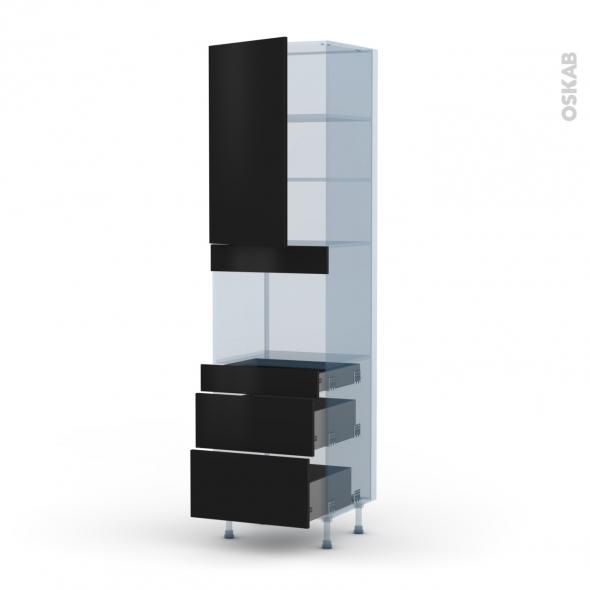 GINKO Noir - Kit Rénovation 18 - Colonne Four niche 45 N°2458  - 1 porte 3 tiroirs - L60xH217xP60