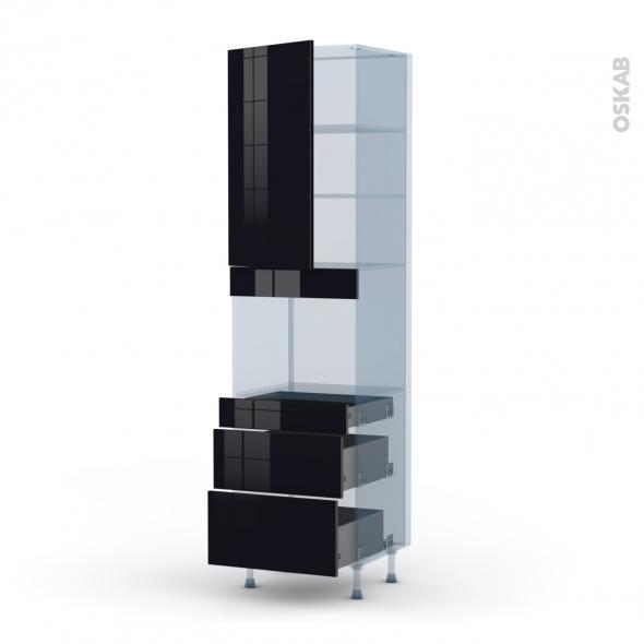 KERIA Noir - Kit Rénovation 18 - Colonne Four niche 45 N°2458  - 1 porte 3 tiroirs - L60xH217xP60