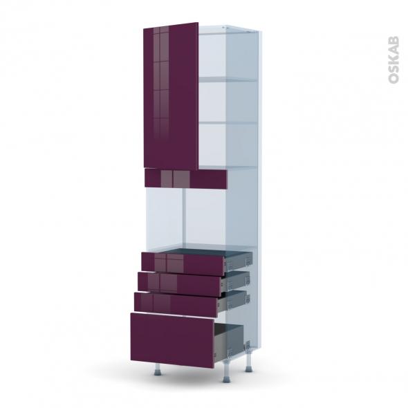 KERIA Aubergine - Kit Rénovation 18 - Colonne Four niche 45 N°2459  - 1 porte 4 tiroirs - L60xH217xP60