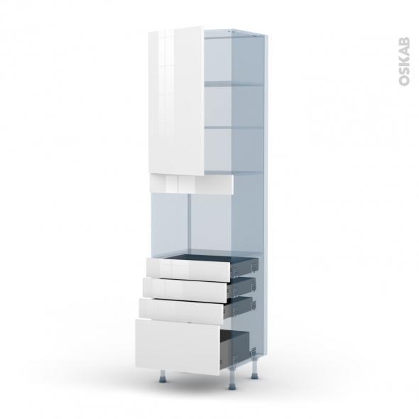 STECIA Blanc - Kit Rénovation 18 - Colonne Four niche 45 N°2459  - 1 porte 4 tiroirs - L60xH217xP60