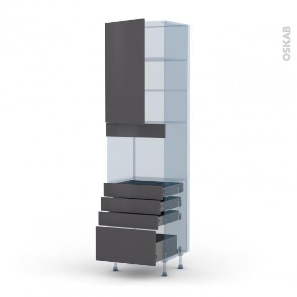 GINKO Gris - Kit Rénovation 18 - Colonne Four niche 45 N°2459  - 1 porte 4 tiroirs - L60xH217xP60