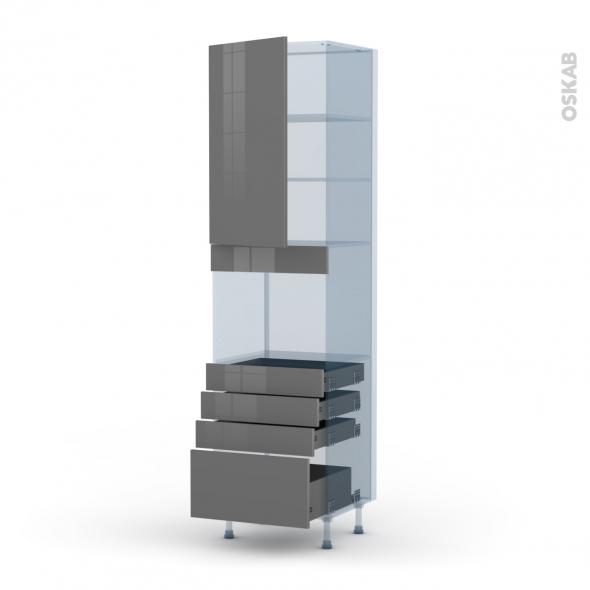 STECIA Gris - Kit Rénovation 18 - Colonne Four niche 45 N°2459  - 1 porte 4 tiroirs - L60xH217xP60