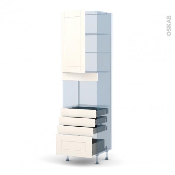 FILIPEN Ivoire - Kit Rénovation 18 - Colonne Four niche 45 N°2459  - 1 porte 4 tiroirs - L60xH217xP60