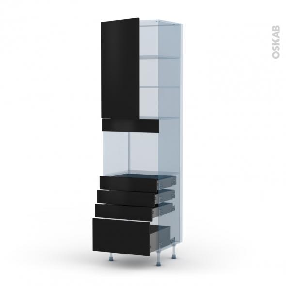 GINKO Noir - Kit Rénovation 18 - Colonne Four niche 45 N°2459  - 1 porte 4 tiroirs - L60xH217xP60