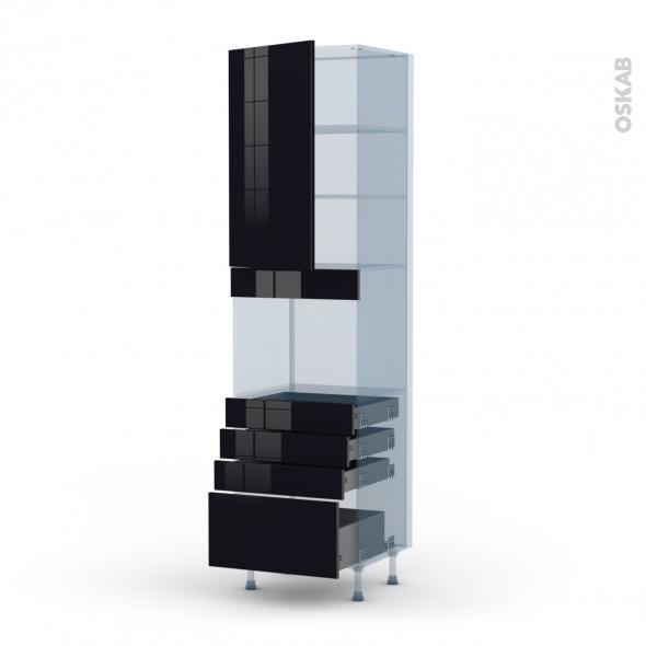 KERIA Noir - Kit Rénovation 18 - Colonne Four niche 45 N°2459  - 1 porte 4 tiroirs - L60xH217xP60