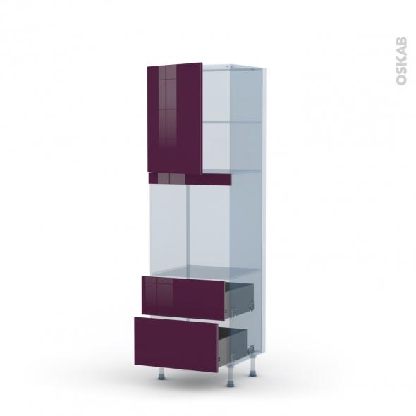 KERIA Aubergine - Kit Rénovation 18 - Colonne Four niche 60 N°2158 - 1 porte 2 casseroliers - L60xH195xP60