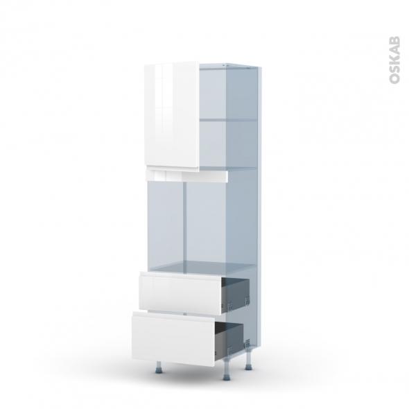 IPOMA Blanc - Kit Rénovation 18 - Colonne Four niche 60 N°2158 - 1 porte 2 casseroliers - L60xH195xP60