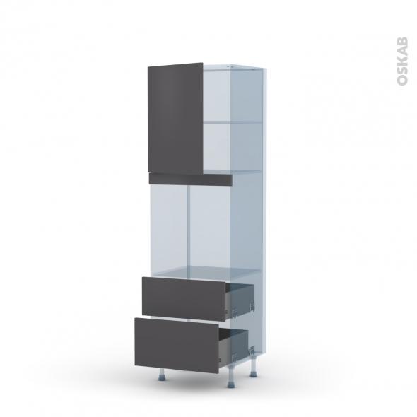 GINKO Gris - Kit Rénovation 18 - Colonne Four niche 60 N°2158 - 1 porte 2 casseroliers - L60xH195xP60