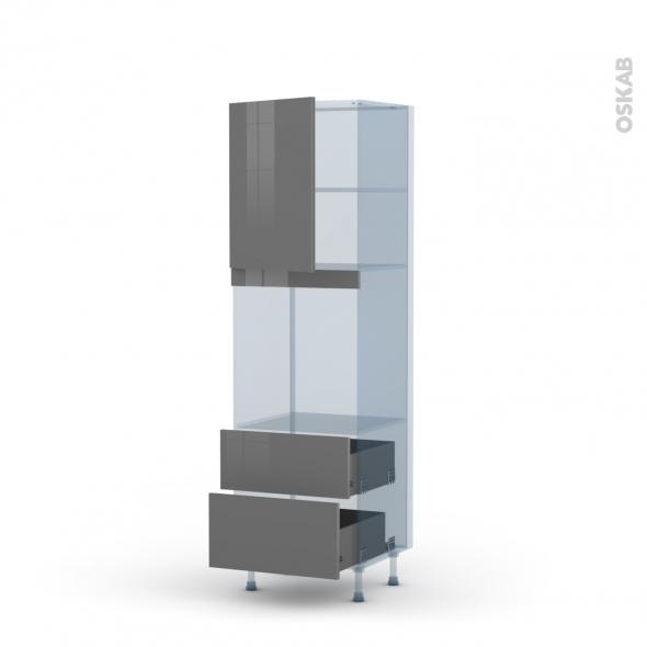 STECIA Gris - Kit Rénovation 18 - Colonne Four niche 60 N°2158 - 1 porte 2 casseroliers - L60xH195xP60